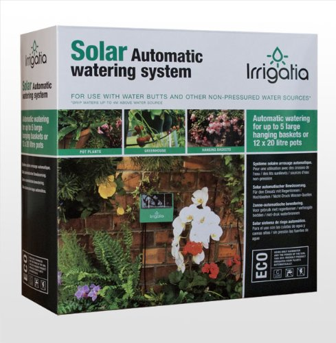 Irrigatia SOL-K12. The Fully Automatic Solar Drip Watering System. For use with rain water butts  &  tanks, this unique garden watering and irrigation system pumps water up to 5m above the water source to accurately irrigate hanging baskets, greenhouses, raised beds, pots and allotments. It's great for tree and shrub establishment too. Keeps your plants watered when you are on holiday. Can be used during the hosepipe ban.