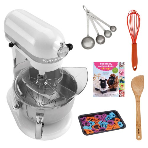 KitchenAid KP26M1XWH Professional 600 Series 6-Quart Stand Mixer, White + Cupcakes, Cookies & Pie, Oh, My! Recipe Book + Silicon Whisk + Cookie Sheet with 22 -Piece Cookie Cutter + Accessory Kit Promo Offer