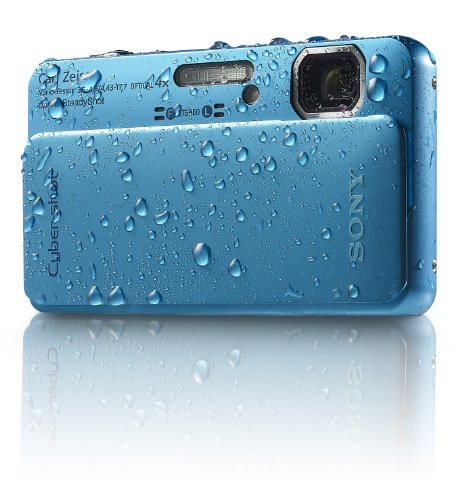 Sony Cyber-Shot DSC-TX10 16.2 MP Waterproof Digital Still Camera with Exmor R CMOS Sensor, 3D Sweep Panorama, and Full HD 1080/60i Video (Blue)