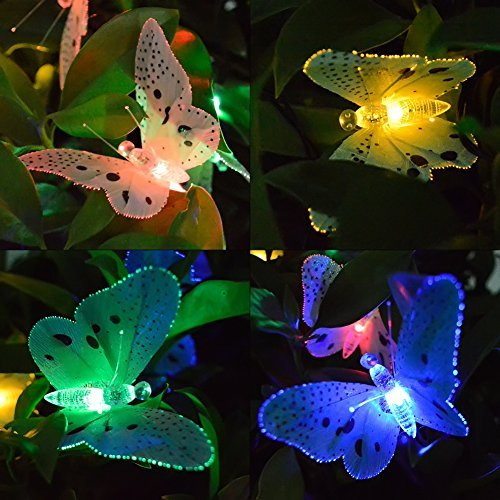 Ucharge Fiber Optic Butterfly Solar String Light 12 Led Colorful Lights Beautiful Animal Design Decorative Lights for Garden, Lawn, Patio, Wedding, Party, Bedroom, Christmas, Outdoor Decoration