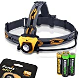 Fenix HP01 210 Lumen CREE XP-G (R5) LED Headlamp (Orange) With Four AA Alkaline Batteries Including Two EdisonBright AA Alkaline Batteries