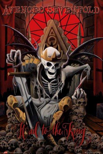 """Avenged Sevenfold - Poster con scritta """"Hail to the King"""" + articolo aggiuntivo multicolore"""