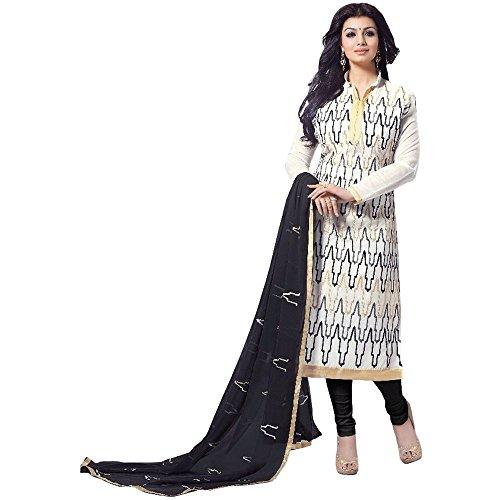 C&H White Cotton Semi-Stitched Salwar Suits