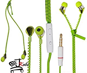 New Designed Zipper Style In Ear Bud Earphones Handsfree Compatible For Motorola Moto X Style -Green