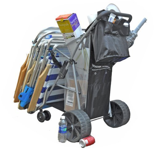 Super Ultra Wide Wheel Wonder Wheeler Beach Cart (Beach Tote With Wheels compare prices)