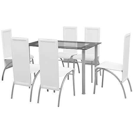 vidaXL 7-tlg. Essgruppe Sitzgruppe Esstisch Kuchenstuhl Esszimmerstuhl Hochlehner Weiß