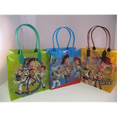 """This is original licensed Disney Toy Story Plastic goody/Gift bags. This is good quality plastic goody/gift bags.There are Assorted colors in a pack. Size approximately 6.5""""x 6.5"""" x3.0"""". You are buying 12 plastic gift /goody bags.You will receive ass..."""