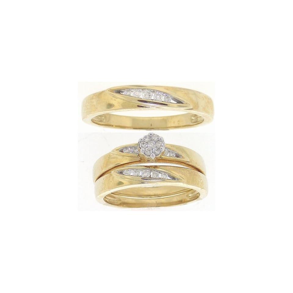 0.25 Carat (ctw) 10K Yellow Gold Round Diamond Men And Womens Cluster Flower Bridal Ring Trio Set 1/4 CT
