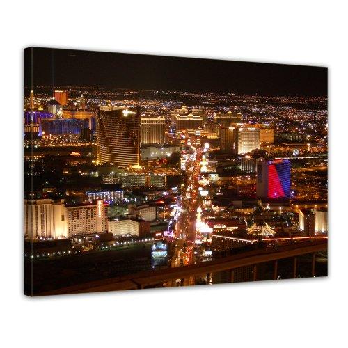 Bilderdepot24 Leinwandbild Las Vegas Strip bei Nacht - 70x50 cm 1 teilig - fertig gerahmt, direkt vom Hersteller