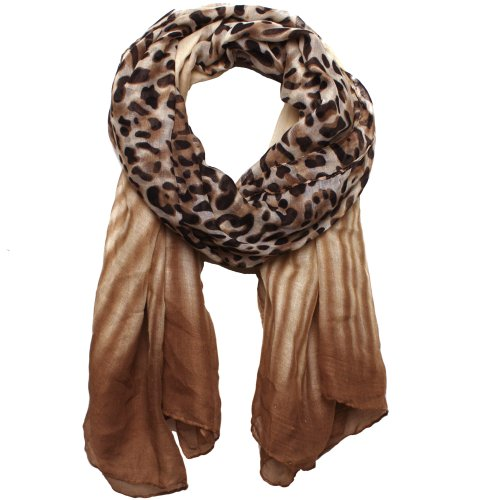 Soft Leopard Print Scarf Ombre Tan, Brown, And Black Colors