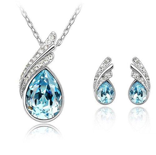 FLORAY Donna o Ragazza Collana del pendente Aquamarine di Acqua-goccia e Stud orecchino gioielli Set.Cristalli Blu. Oro placcato.Bella Scatola Gioielli Blu.