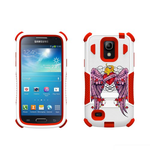 Beyond Cell Tri-Shield Durable Hybrid Hard Shell and Silicone Gel Case for Samsung Galaxy S4 Mini - Retail Packaging - White/Red/Wing Heart