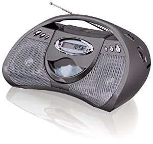 GPX Portable CD Player with AM/FM Radio, Line in for MP3 Devices (Gunmetal Grey)