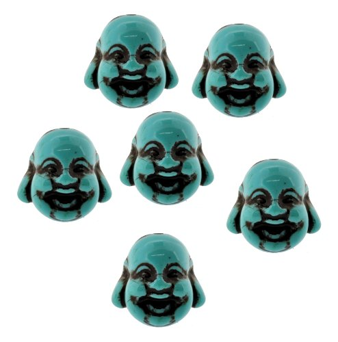 Dyed Howlite Turquoise Happy Buddha Beads, Laugh