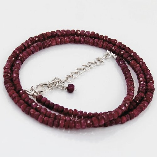 925 Sterling Silver Natural 4mm Ruby Gemstone Beads Strand Necklace with Lobster Closer Handmade Jewelry 18
