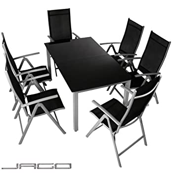pas cher salon de jardin terrasse gris clair ensemble 6 chaises et table avec plateau en. Black Bedroom Furniture Sets. Home Design Ideas