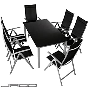 Jago ensemble assortiment chaises chaise tables table de jardin alu alumini - Ensemble table de jardin ...