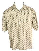 Mens Silk Camp Shirt Retro Vintage 50s Style Ivory M L XL XXL (XL)