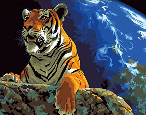CaptainCrafts New Paint by Number Kits - Tiger Look 16x20 inch Frameless - Diy Painting by Numbers for Adults Beginner Kids