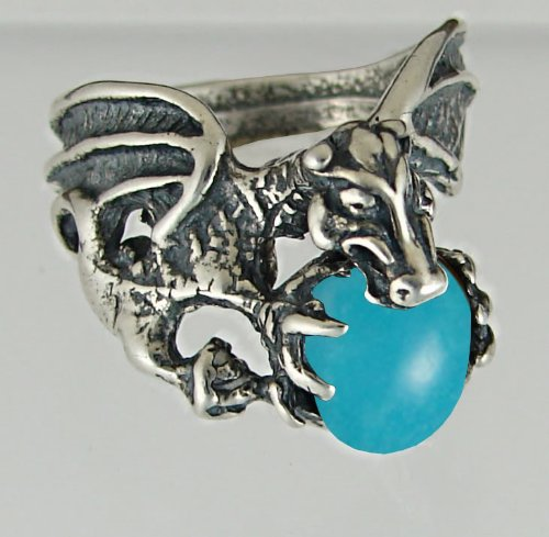 Dragon of Desire Sterling Silver Ring Accented with Genuine Turquoise Made in America