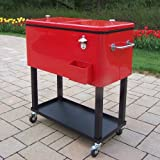 NEW Hardsided Durable Steel 80qt Patio Cooler with Rolling Cart In Red