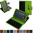 Mama Mouth Rotary Stand PU Leather Case Cover With Removable Micro USB Keyboard for 7 Verizon Ellipsis 7 4g LTE (QMV7A) Android Tablet Green