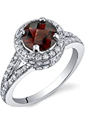 Majestic Sensation 1.50 Carats Garnet Ring in Sterling Silver Rhodium Nickel Finish Sizes 5 to 9