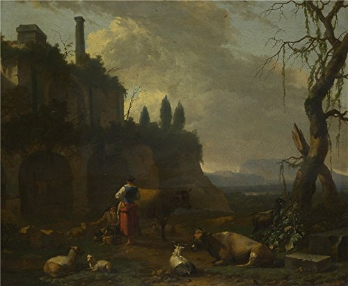 High Quality Polyster Canvas ,the High Quality Art Decorative Canvas Prints Of Oil Painting 'Abraham Begeijn Peasants With Cattle By A Ruin ', 16 X 19 Inch / 41 X 49 Cm Is Best For Kitchen Gallery Art And Home Decoration And (Farm Tractor Deluxe Party Pack)
