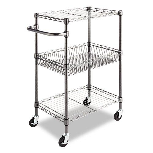 Alera SW342416BA Three-Tier Wire Rolling Cart, 16w x 26d x 3