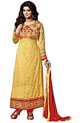 Vibes Womens Net Patch Work Anarkali Dress Material (V226-7004 _Yellow _Free Size)