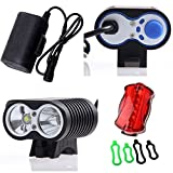 UniqueFire New Generation 2 x Cree XM-L2 Led X2 Bike Bicycle Light Night Cycling Lamp/Rainproof Dustproof Waterproof 4 x 18650 Battery Pack with Rubber Jacket/UK Standard Battery Charger with EU Adapter/ 4 x O Installation Rubber Rings/Free Gift 6 LEDS Ta