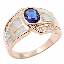 buy Oval Tanzanite Genuine Topaz & White Opal Inlay 925 Solid Sterling Silver Promise Ring Band Size 8 (#8, White/Rose Gold Plated)