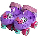 PlayWheels Hello Kitty Kids Glitter Rollerskate Junior with Knee Pads, Size 6-12