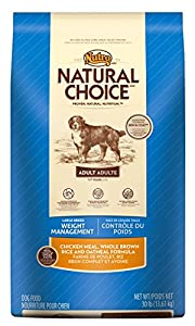 NATURAL CHOICE Large Breed Weight Management Adult Chicken Meal, Whole Brown Rice and Oatmeal Formula - 30 lbs. (13.61 kg)