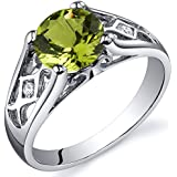 Peridot Cathedral Ring Sterling Silver 1.25 Carats Sizes 5 to 9