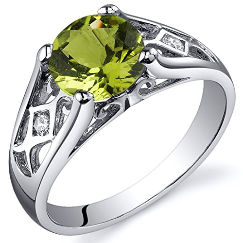 Peridot Cathedral Ring Sterling Silver 1.25 Carats Size 8