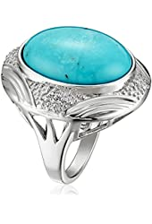 Sterling Silver Oval Genuine Stabilized Turquoise with Diamond Ring (1/10cttw, I-J Color, I2-I3 Clarity), Size 7