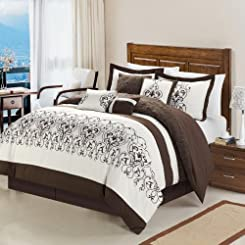 Troy Beige 8 Piece Embroidered Comforter Bed In A Bag Set