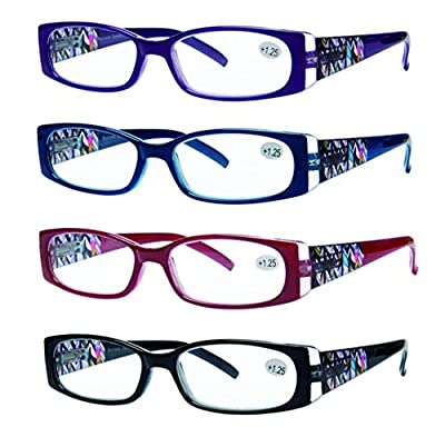 READING GLASSES Set of 4 Great Value Quality Spring Hinge Stylish Designed Reading Glasses for Women