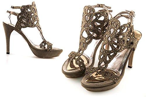 Scarpe donna WHY ALBERTO VENTURINI N35 sandalo taupe + strass in camoscio X3132