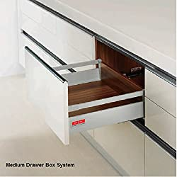 Drawer Box System Medium Square Rail concealed full extn. Tool Free Assembly & Removal Hydraulic Silent Soft Closing Up Down Left Right adjustments 40Kg Dynamic Load Capacity Silver Grey Finish 350mm Length 14IN
