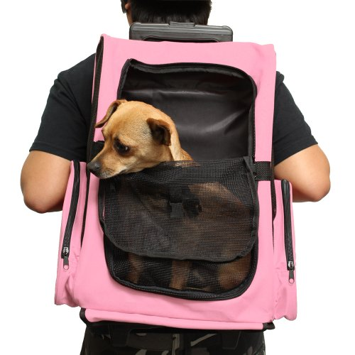 Oxgord Rolling Backpack Travel Pet Carrier for Cats Dogs and Rabbits, Pink
