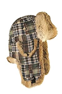 Mad Bomber Patchwork Flannel Bomber Cap with Real Fur, Patchwork/Blue/Brown, Small