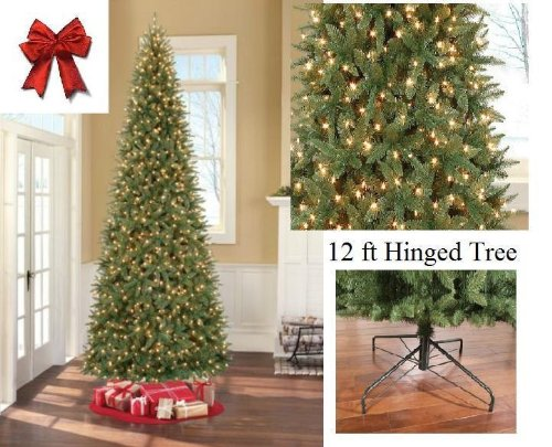 12-Ft-Tall-Artificial-Slim-Christmas-Tree-W1100-Lights-Stunning