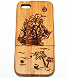 iPhone 5C Case, Firefish Wood Life Natural Handmade Carved Wooden Hard Case Cover Protective Shell For iPhone 5C ( With A Stylus) -Sailing