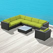 Hot Sale Luxxella Outdoor Patio Wicker DUXBURY Peridot Sofa Sectional Furniture 8pc All Weather Couch Set
