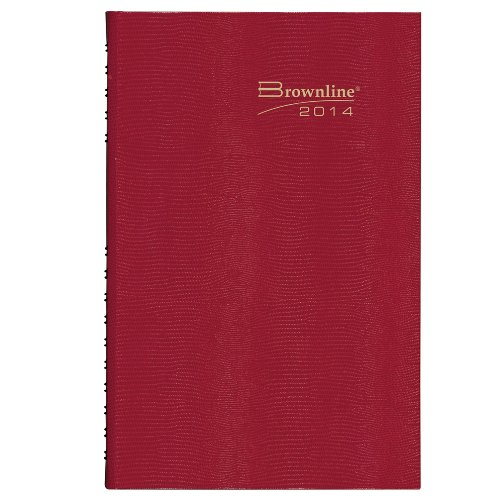 Brownline 2014 Daily Appointment Book, Hard Cover, Red, 13.375 x 7.875 Inches (C551.Red)