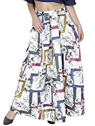 SVT ADA COLLECTIONS WHITE COLOR SATIN PRINTED LONG SKIRT(044406B_White_FS)