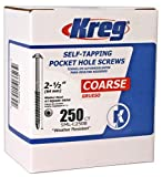 "Kreg SML-C250B-250 Blue-Kote Weather Resistant Pocket Hole Screws - 2 1/2"", #8 Coarse, Washer Head, 250 count"