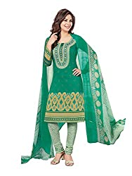 PShopee Green Synthetic Printed Unstitched Suit Dress Material